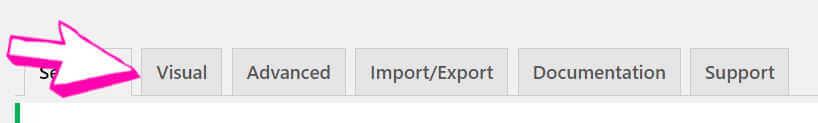 Visual tab in the main menu of the jQuery plugin
