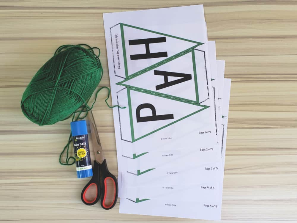 Materials needed to make the St. Patrick's Day bunting