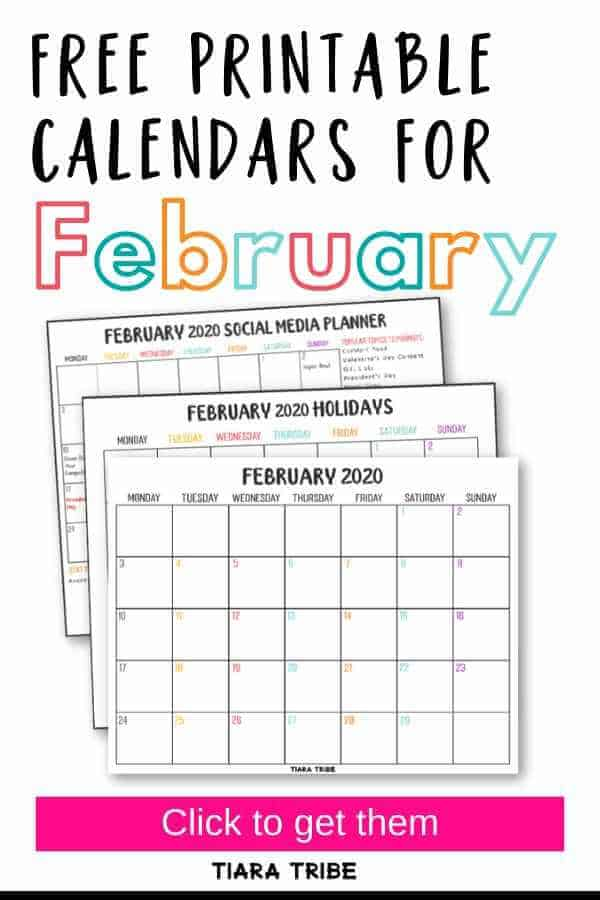 Free printable calendars for February