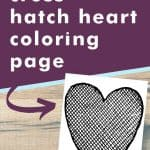 Get this cross-hatch heart coloring page