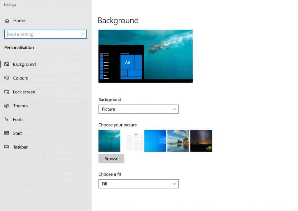 Background Settings in Windows