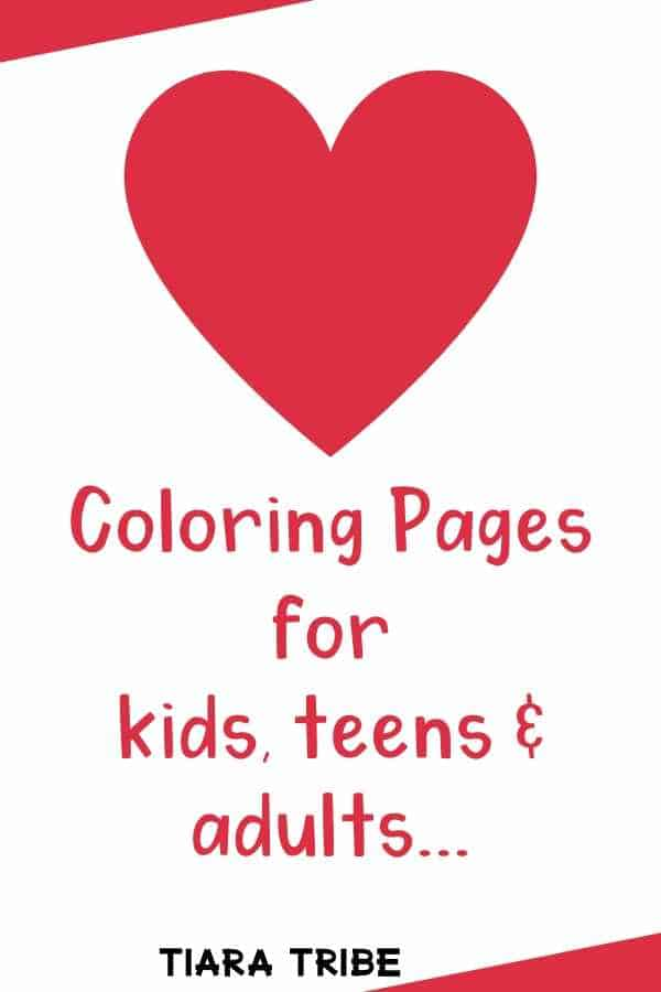 Free heart color pages for kids, teens and grown ups - from simple to vintage designs