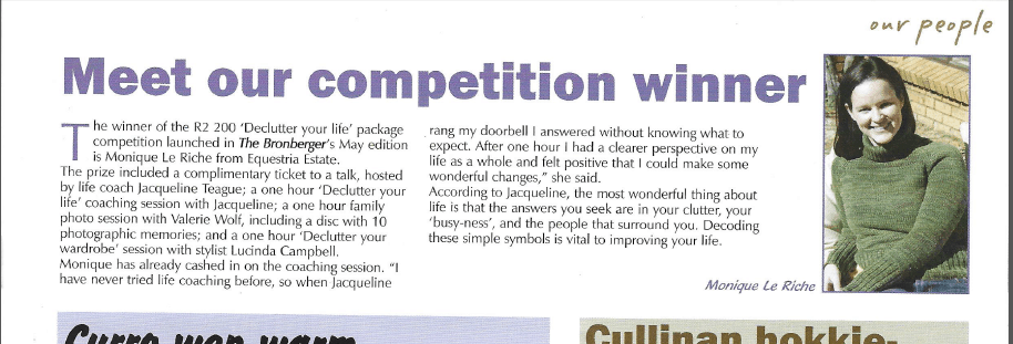 Winning a competition in a local magazine