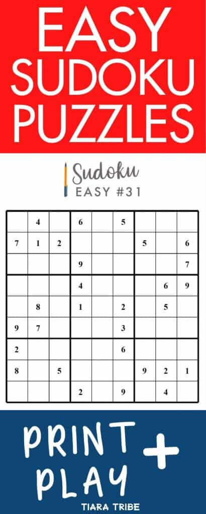 Easy Sudoku Puzzles - Print and play
