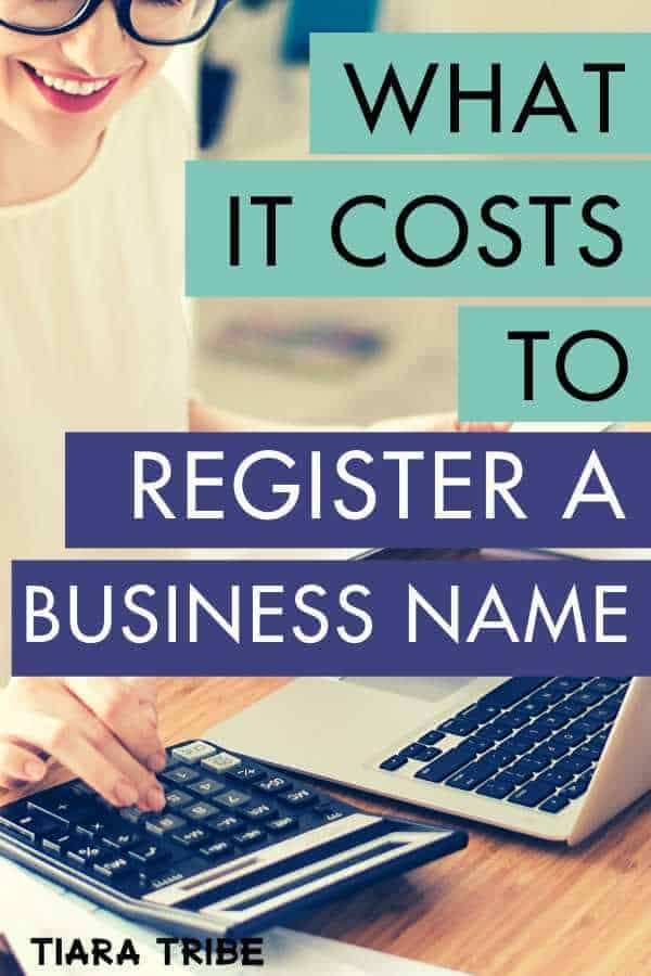 What is costs to register a business name based on the state you live in and the type of company