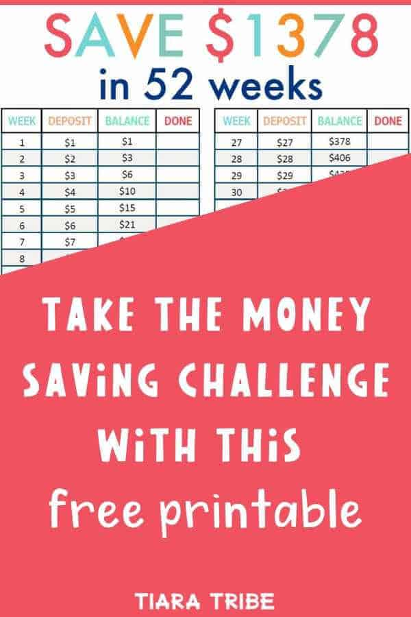 Take the money saving challenge with this free printable - 52 week challenge