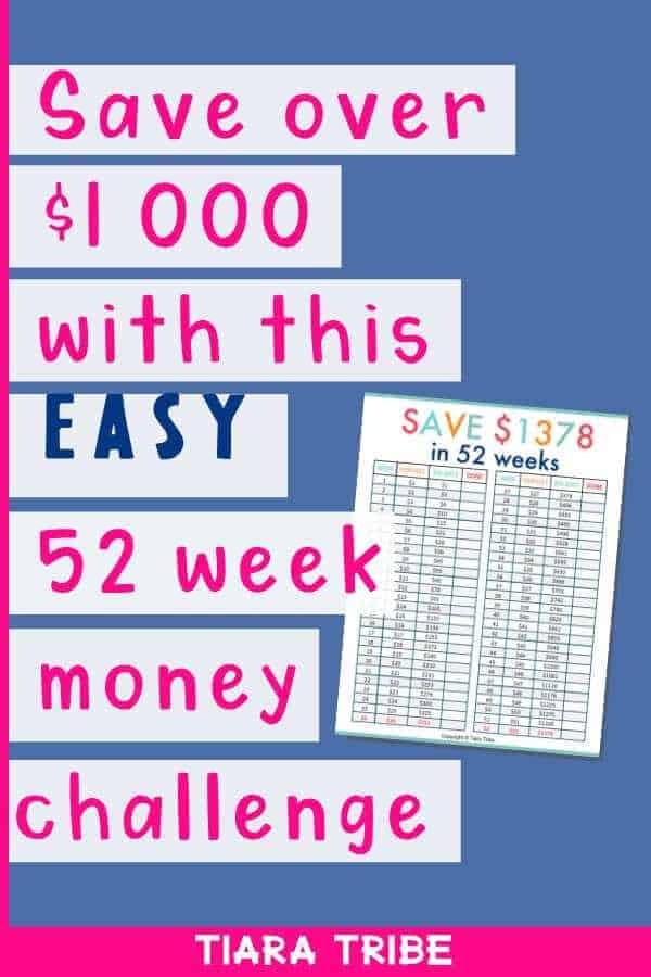 Save over $1000 with this easy 52 week money challenge - free printable!