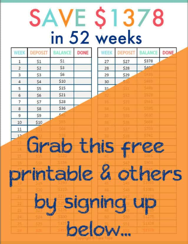 Grab this 52 week money challenge printable and crush the challenge