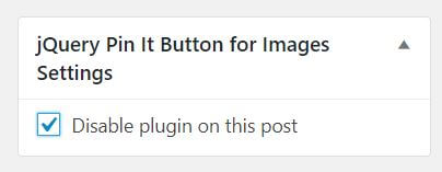 Tick to disable plugin on a post or page