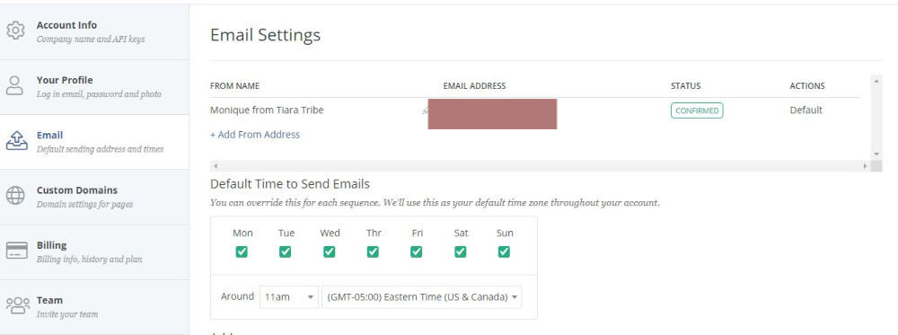 ConvertKit tutorial: Account settings