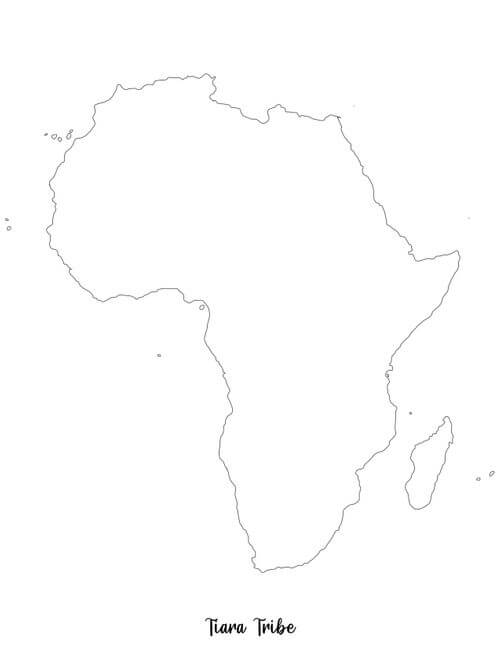 Africa coloring page without country borders