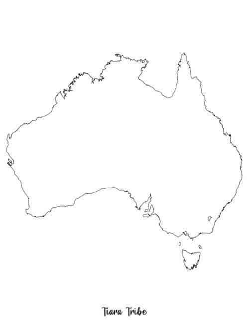 Australia coloring page without state borders