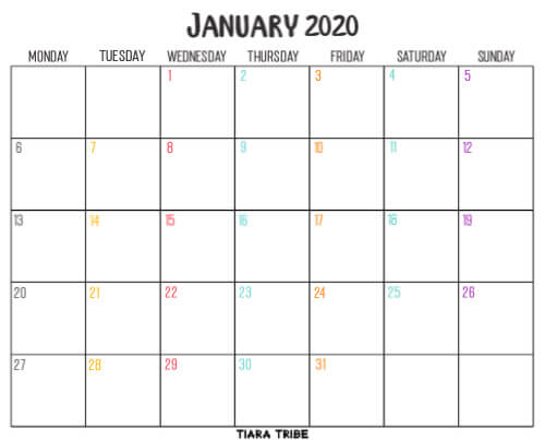 Free blank January 2020 calendar printable