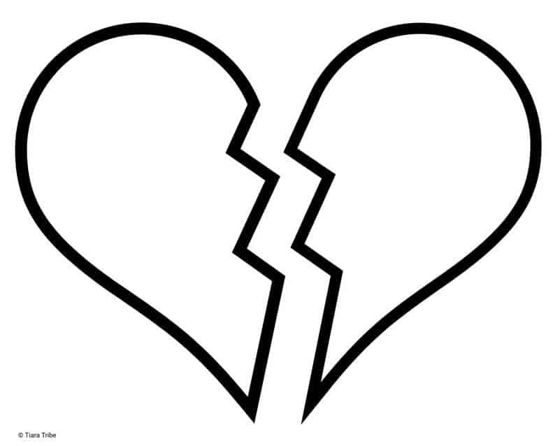 Broken heart with left side
