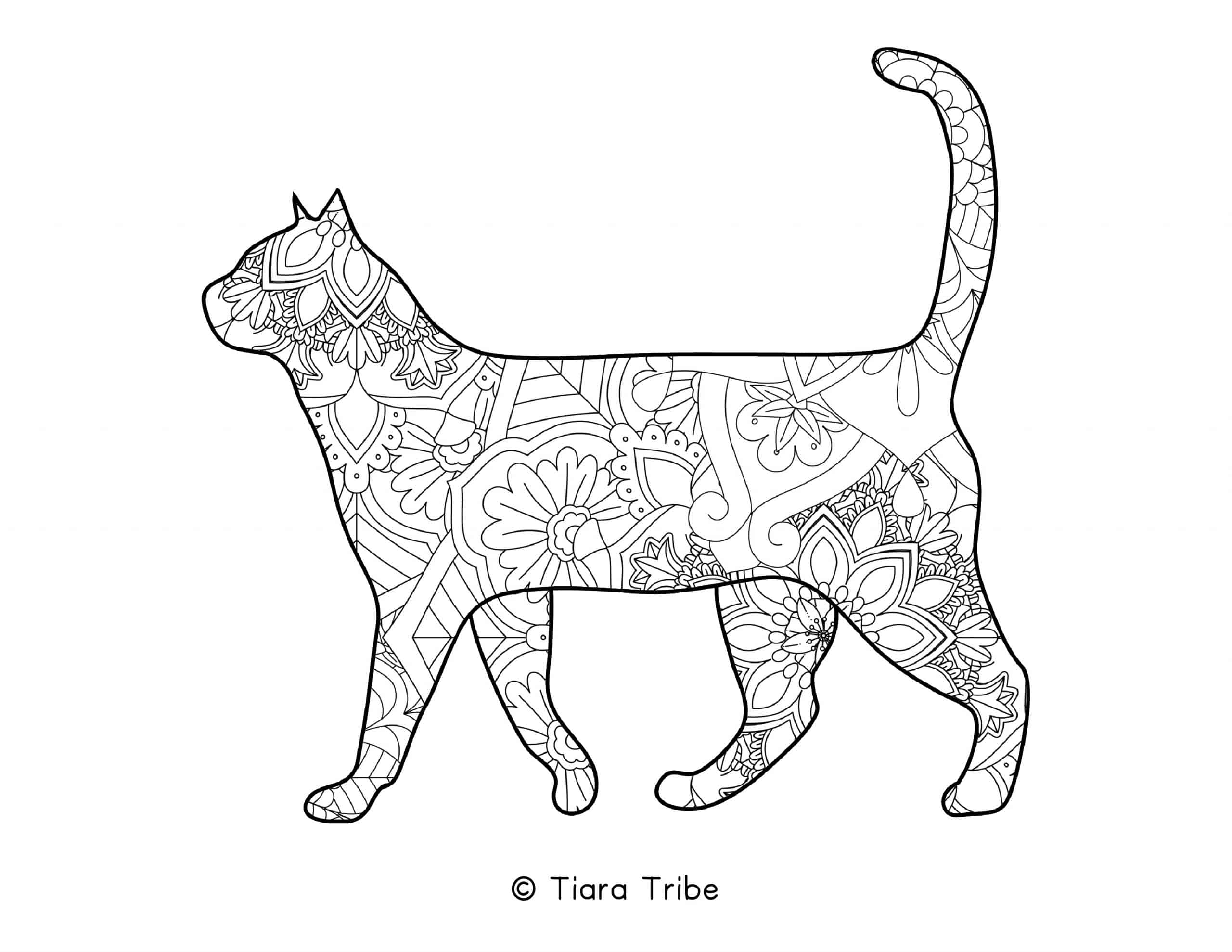 Cat Mandala Coloring Page