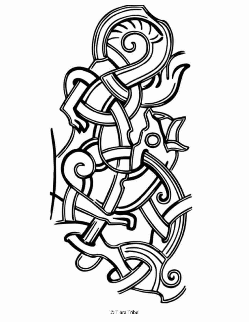 Celtic Line Design Coloring Page