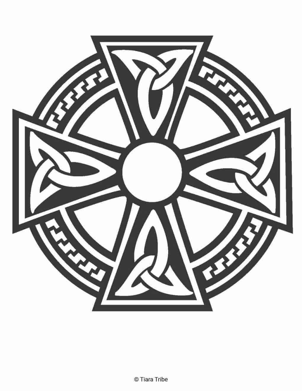 Celtic Cross And Circle Coloring Page