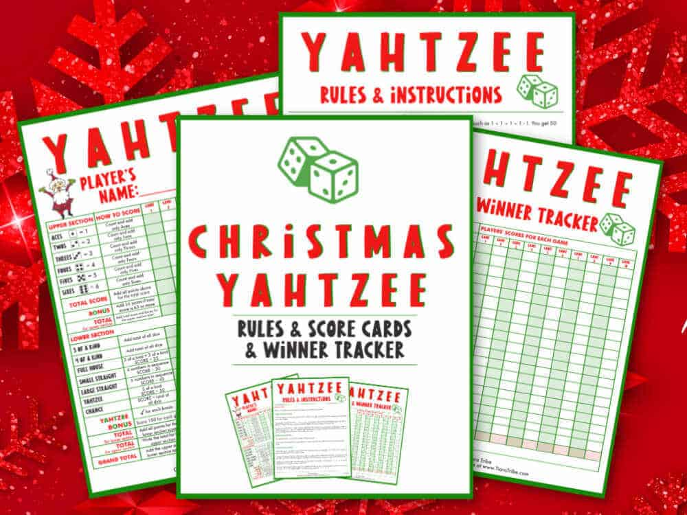 Christmas Yahtzee Rules and Yahtzee Score Cards