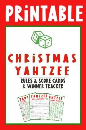 Christmas Yahtzee score cards and rules and winner tracker