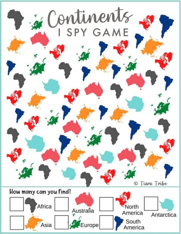 Continent I Spy Game 1 - Easy Level