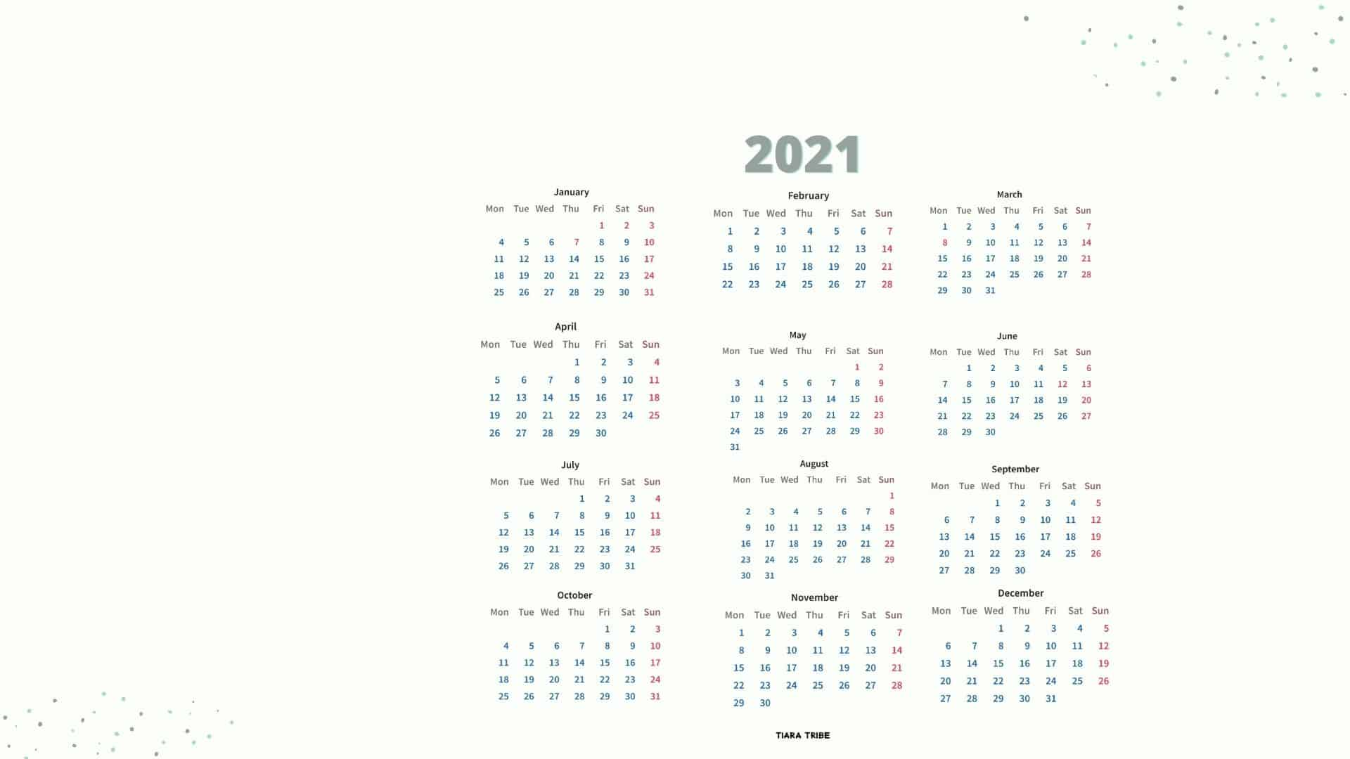 Free 2021 Desktop Calendar Wallpaper   Immediate Download | Tiara