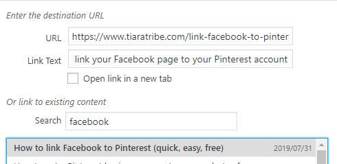 Click on existing content you want to use in WordPress links