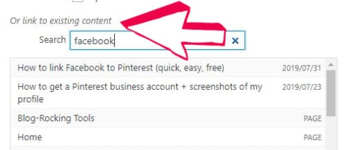Find existing content in WordPress links