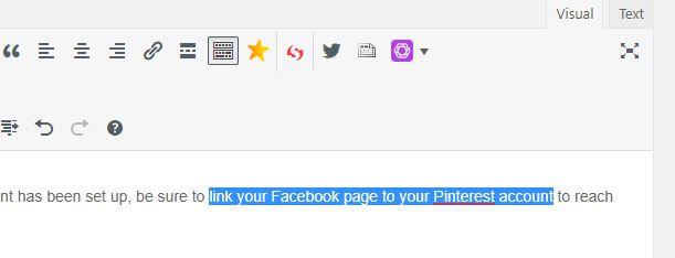 Highlight the text to insert WordPress links