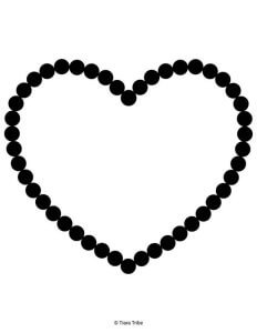 Dotted heart outline coloring page