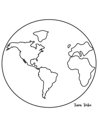 Easy map of the world coloring page for young children