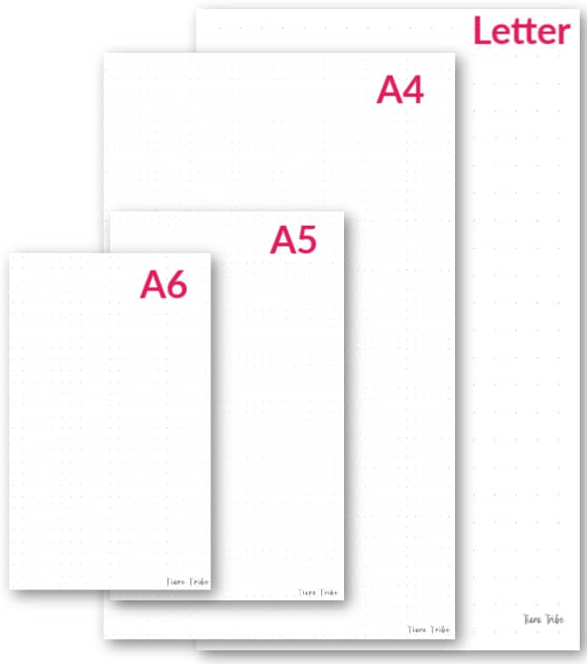 Examples of all dot paper grid page sizes