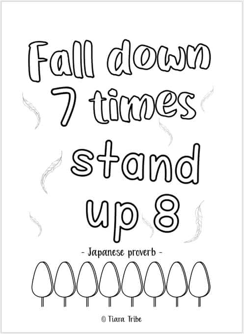 Fall down 7 times stand up 8' growth mindset coloring page