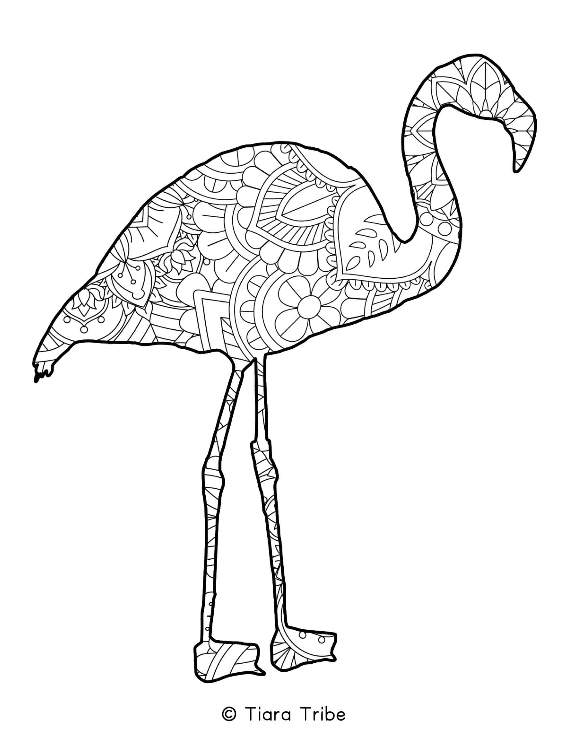 Flamingo Mandala Coloring Page