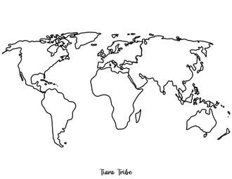 Flat map of the world – no labels or colors