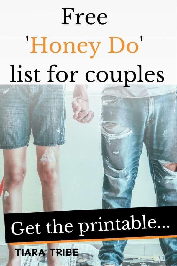 couple holding hands with text 'free honey do list for couples'