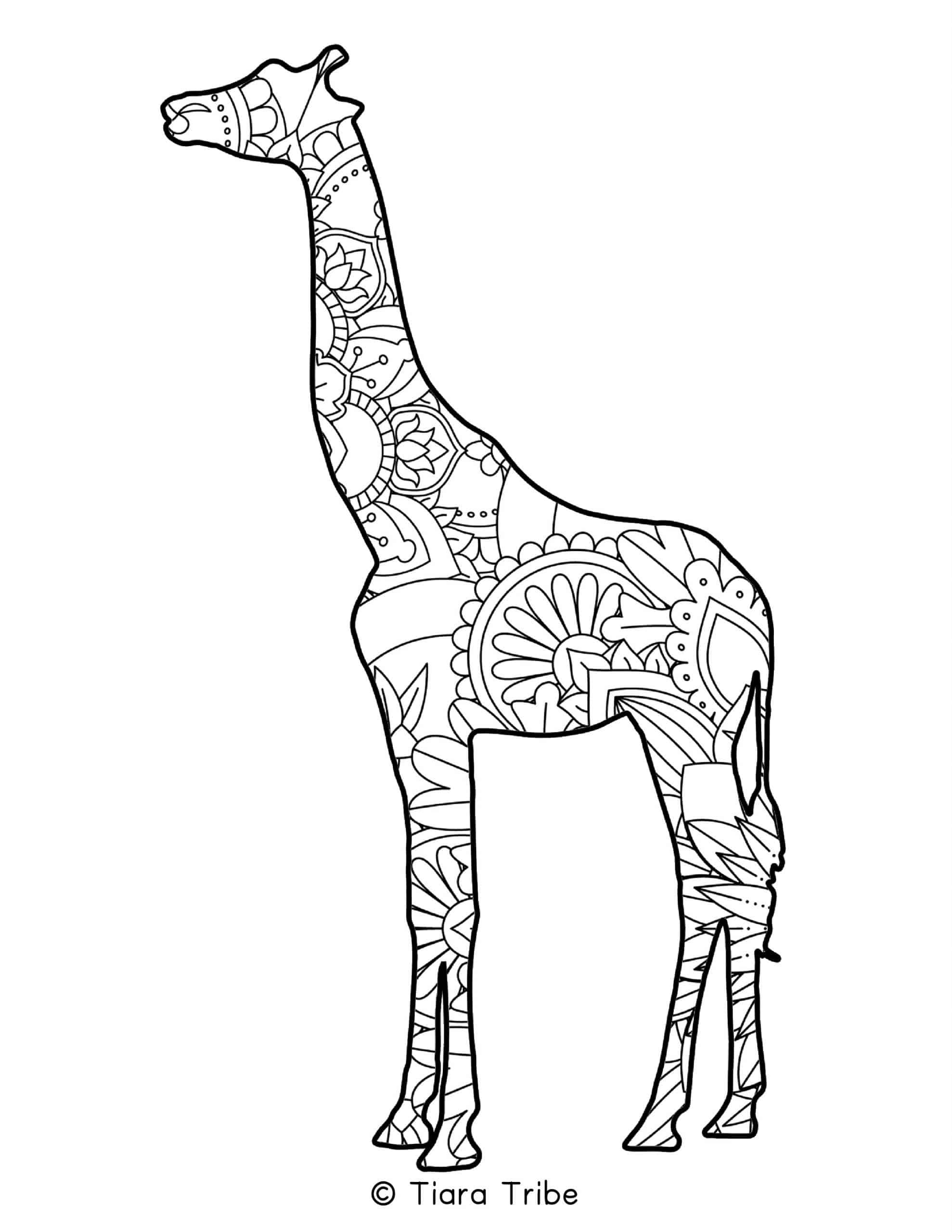 Giraffe Mandala Coloring Page