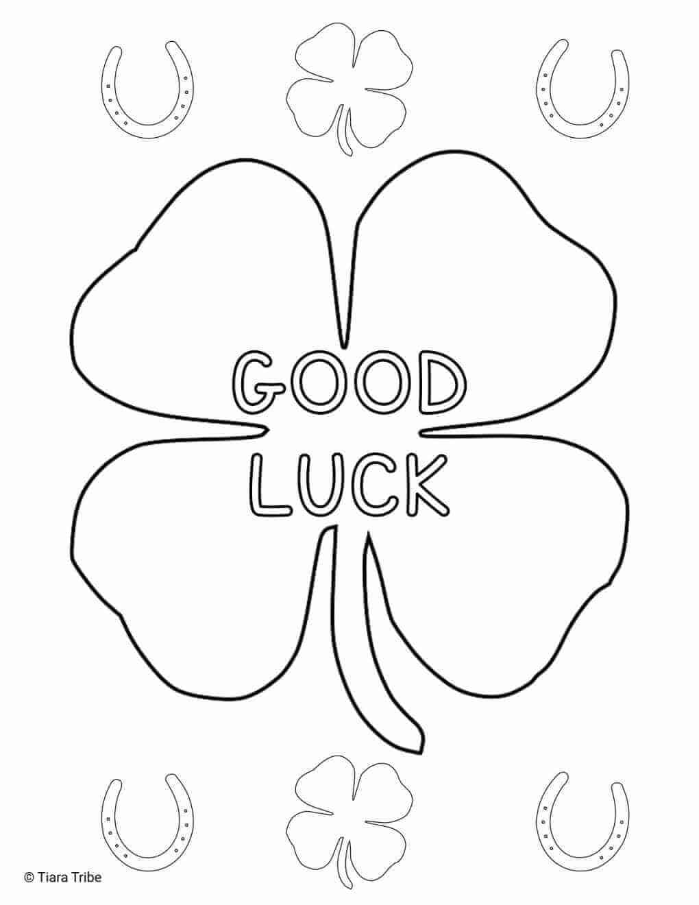 Good Luck Shamrock Coloring Page