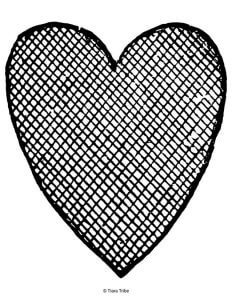 Heart crosshatch with squares to color in
