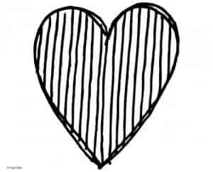 Heart with line stripes