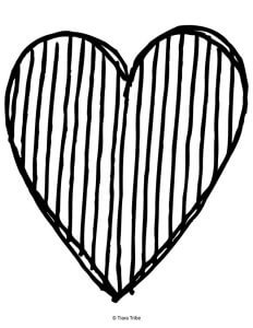 Heart with line stripes color in page