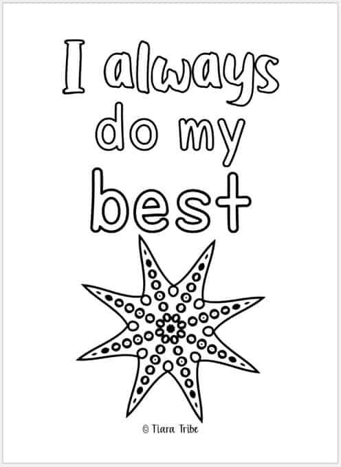 'I always do my best' growth mindset coloring page