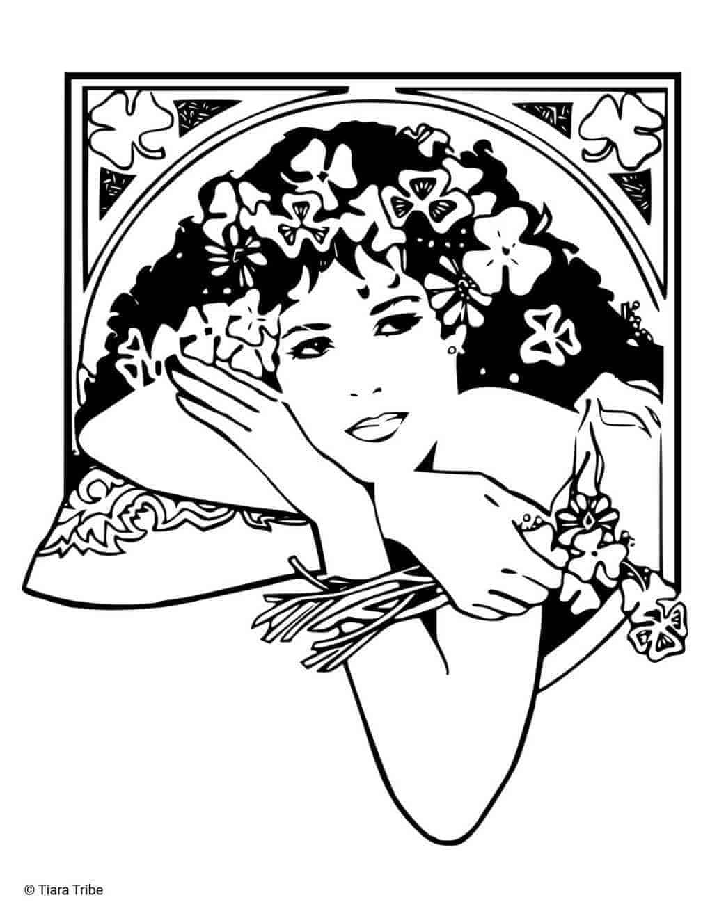 Irish Woman Coloring Page