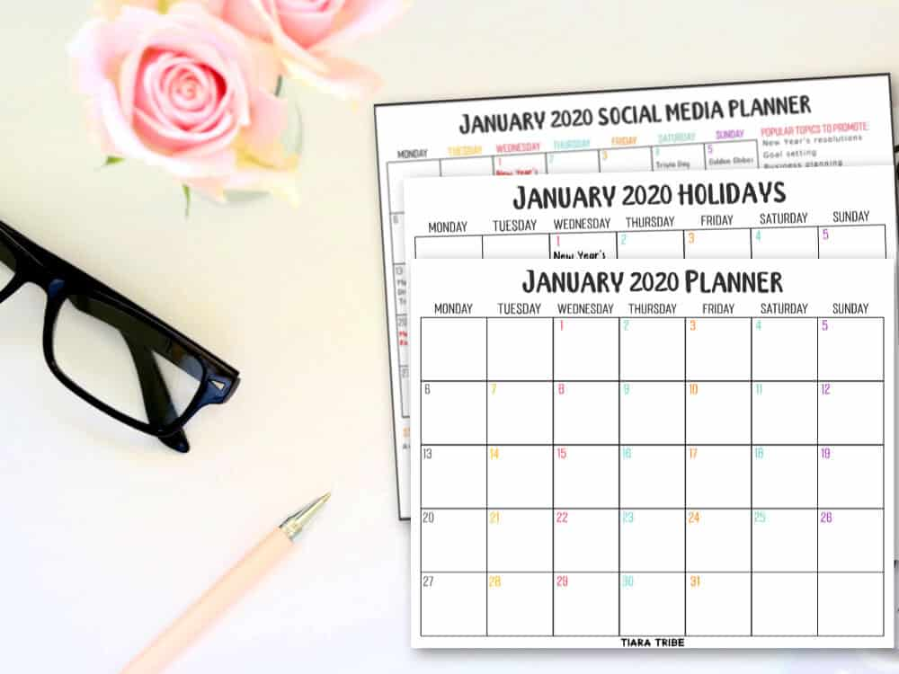 January 2020 calendar for social media and content