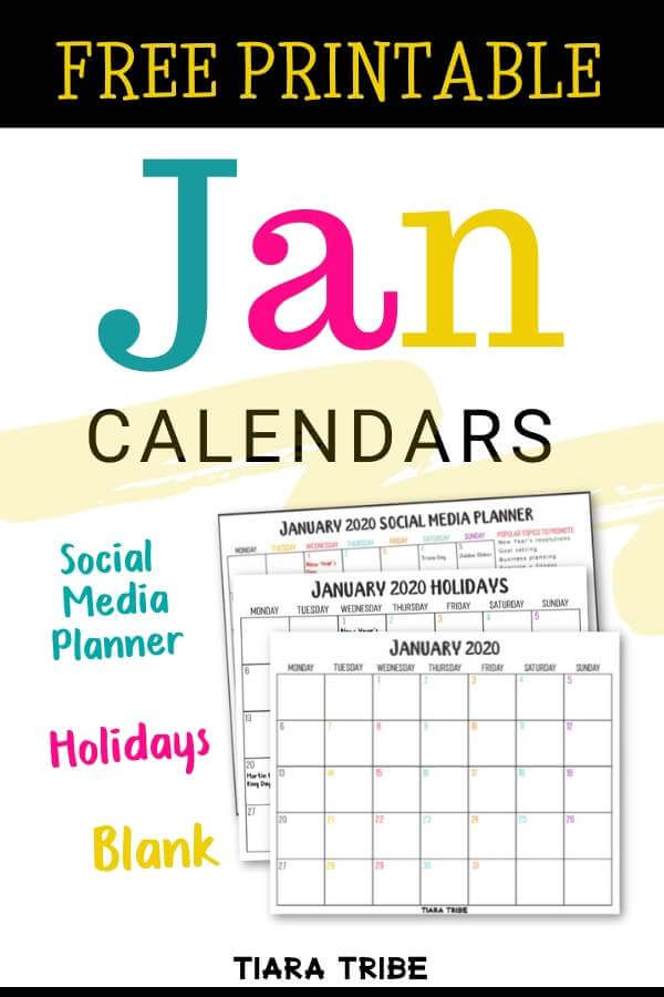 Get these pretty free printable calendar templates for January 2020