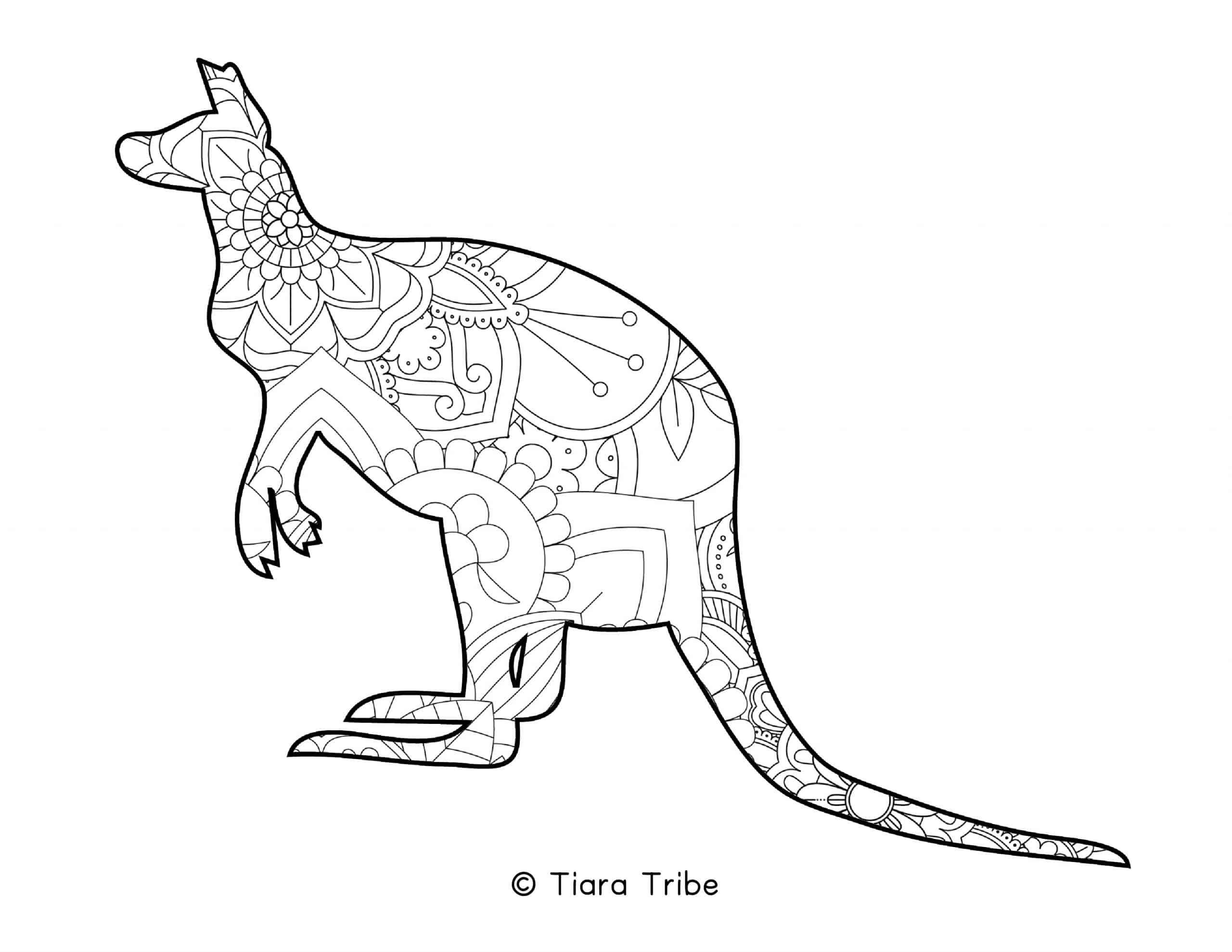 Kangaroo Mandala Coloring Page