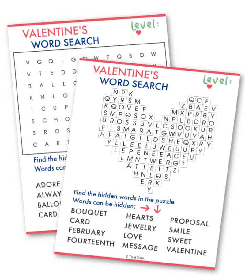 Level 1: Valentine's Day Word Search
