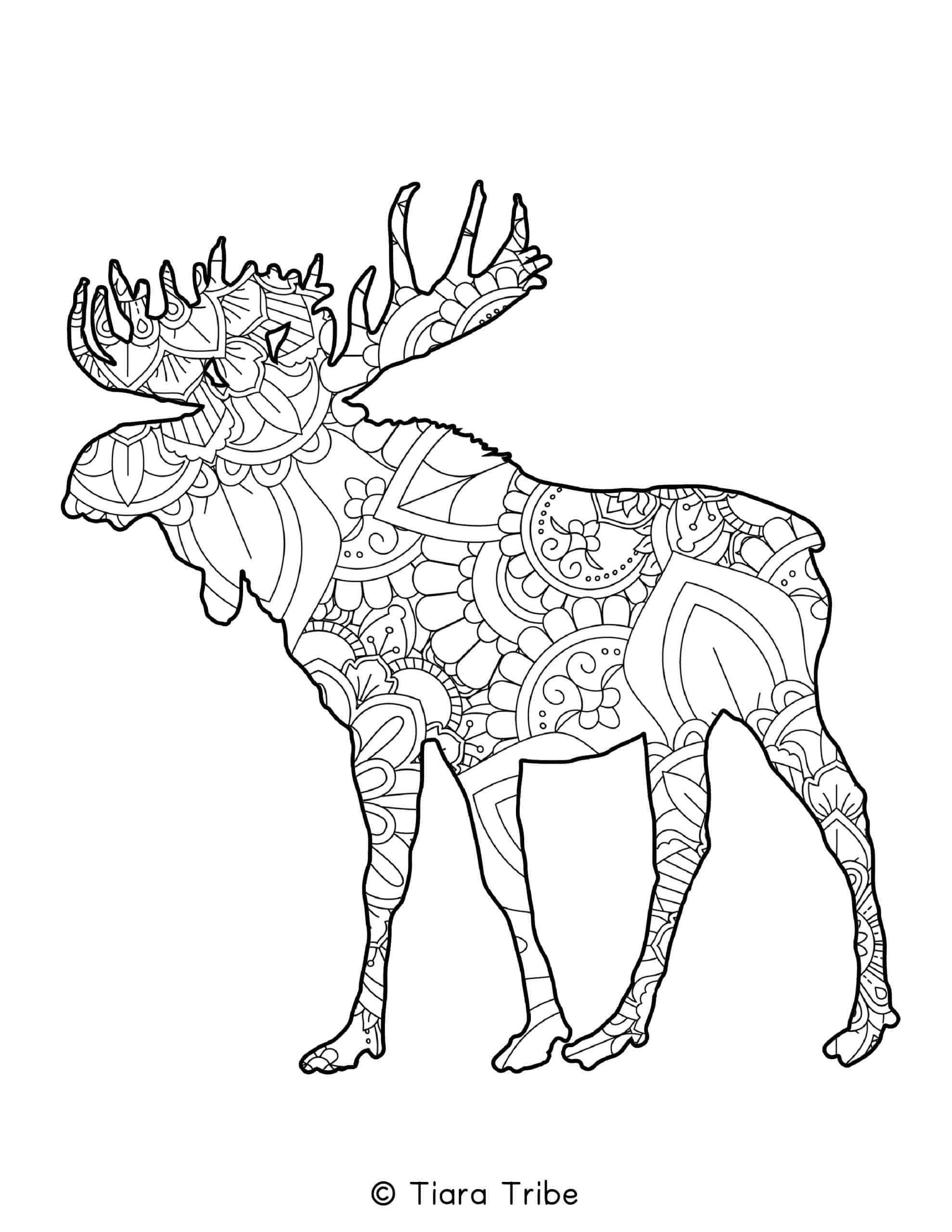 Moose Mandala Coloring Page