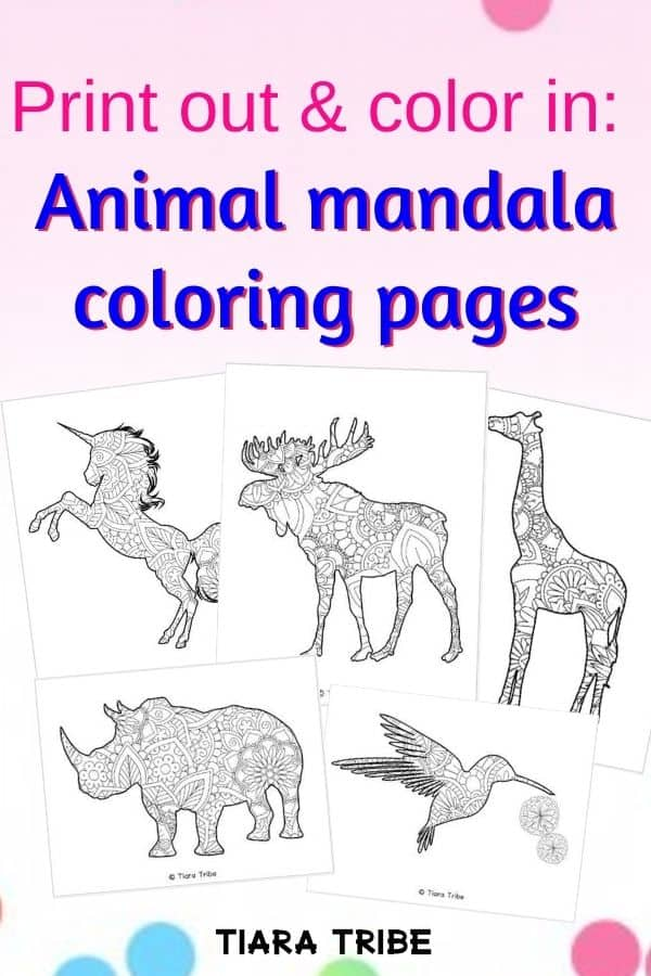 Print out and color in animal mandala coloring pages
