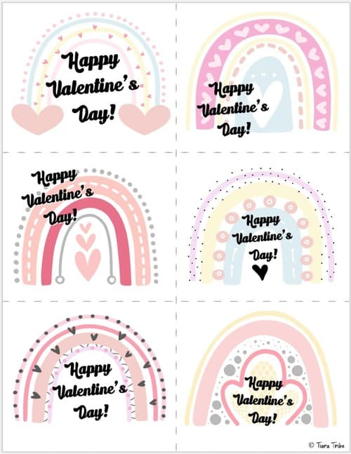 Rainbow valentines cards for kids - Set 1