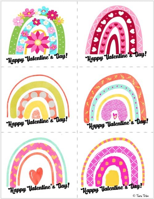 Rainbow valentines cards for kids - Set 2